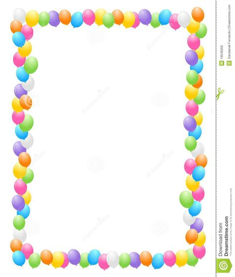 balloon border template free colorful balloons border frame illustration for birthday