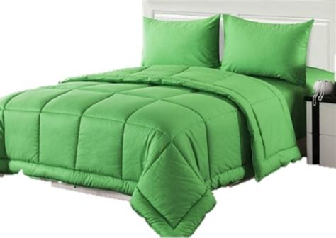 4 piece 10 quot 0 quot cotton solid green quilted comforter set