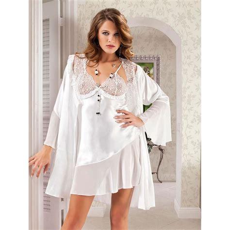 Set Flowy White 3in1 tas740801 flowy white bridal babydoll nightwear set with sheer slanted overlay