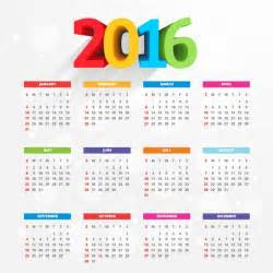 Calendario A 2016 Calendar With Colorful Numbers Vector Free