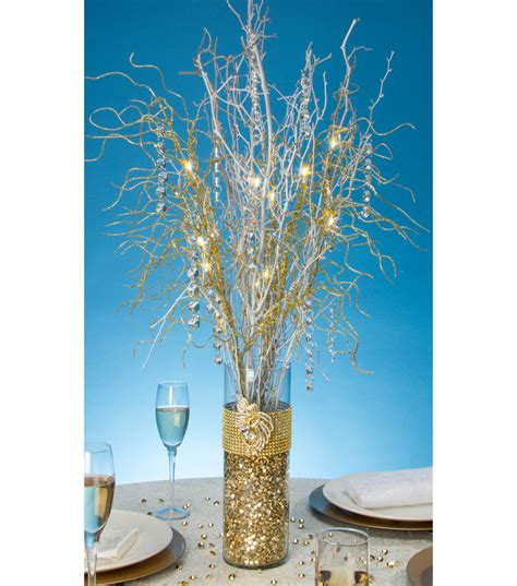 vase with branches centerpieces gold bling wrapped vase with lit branches joann jo
