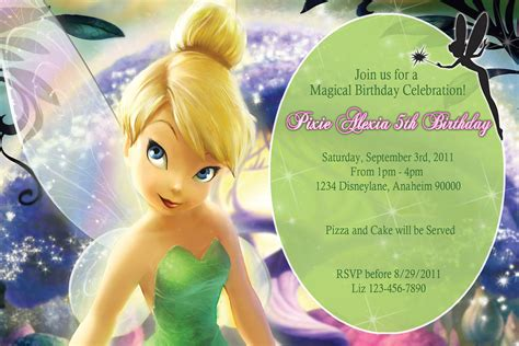 printable invitations tinkerbell items similar to pixie tinkerbell birthday invitations diy