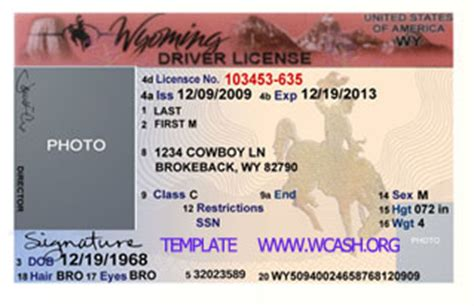 usa id card template wyoming drivers license psd template photoshop