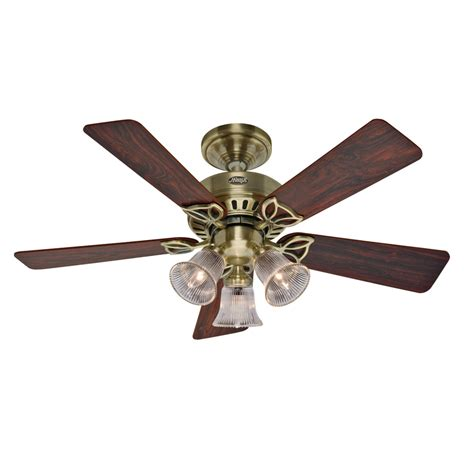 antique brass ceiling fan light kit shop hunter 42 in beacon hill antique brass ceiling fan