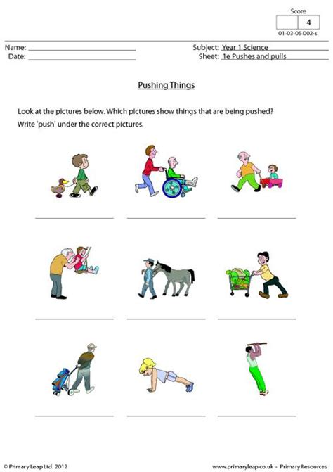 Push And Pull Worksheets For Kindergarten by Pushing Things Primaryleap Co Uk