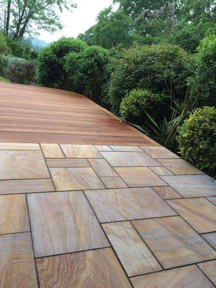 smooth rainbow natural sandstone paving  harwood balau