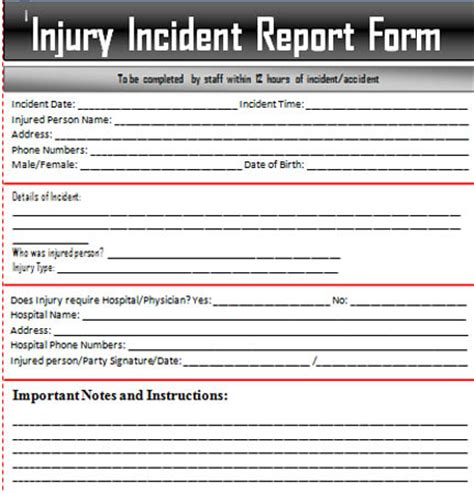 injury incident report form template incident report template free word documents