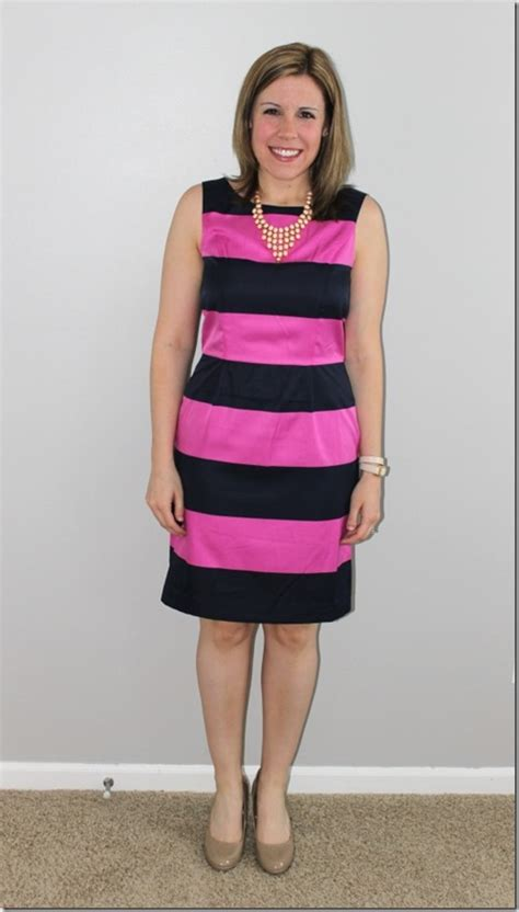 Dress Perempuan Navy Pink navy and pink striped dress the style files