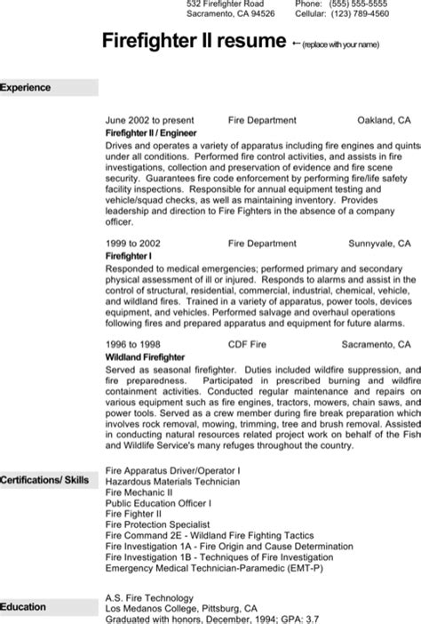 Download Firefighter Resume Templates For Free Formtemplate Firefighter Resumes Templates