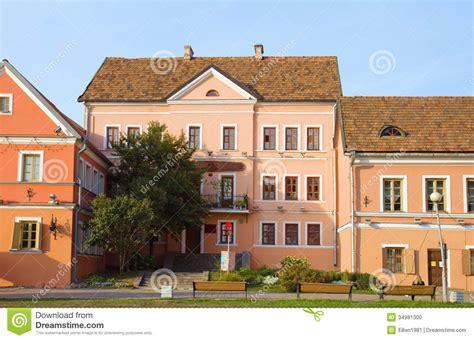 houses of belarus old houses on embankment in minsk belarus stock photo