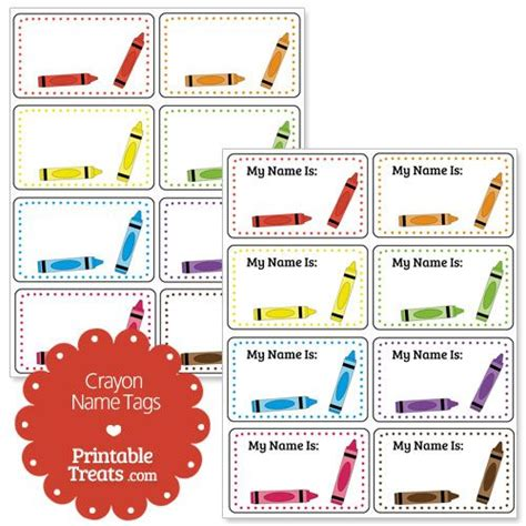 preschool name tag templates printable crayon name tags theme for room