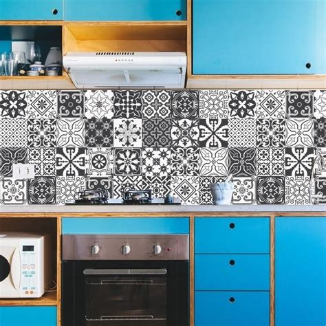 azulejo retro adesivo azulejos cozinha retr 244 preto