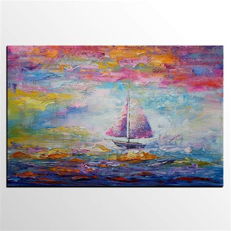 boat canvas art sail boat painting large art canvas painting large