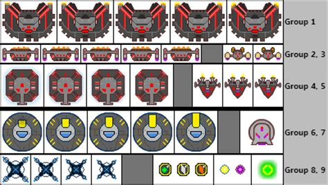 alien enemies, human devices, and power up sprites by