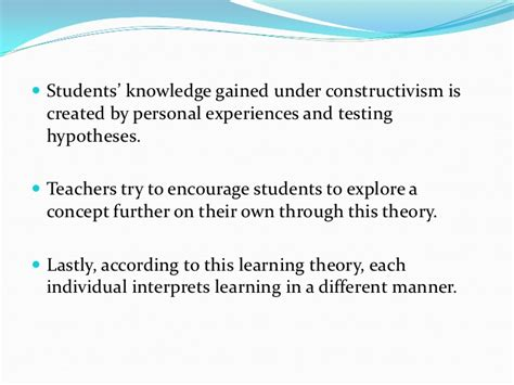learning theory constructivist approach students constructivist learning theory