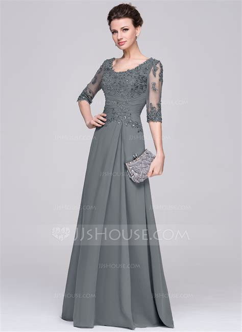 Vestidos princesa formato a decote redondo longos de chiffon vestido