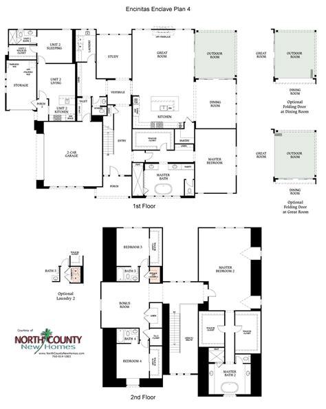 enclave floor plans encinitas enclave new homes plan 4 north county new homes