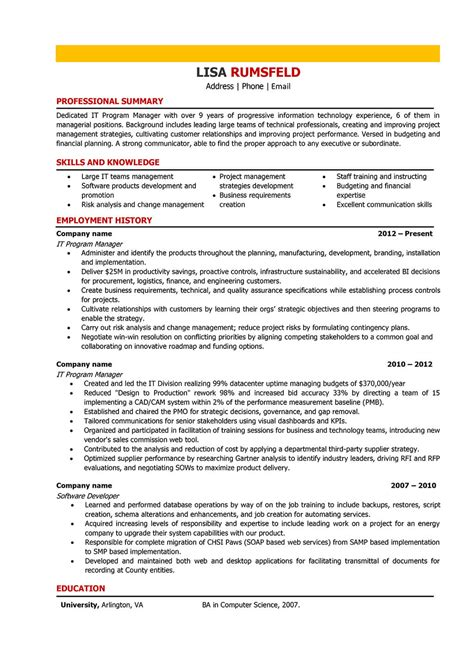 It Manager Resume by It Manager Resume Sles And Writing Guide 10 Exles
