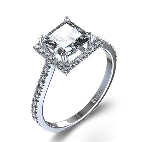 stylish halo princess cut engagement ring in 14k