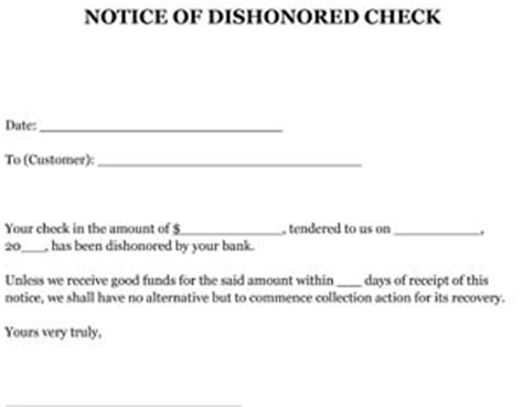 Demand Letter With Notice Of Dishonor Notice Of Dishonored Check Letter Sle Small Business Free Forms