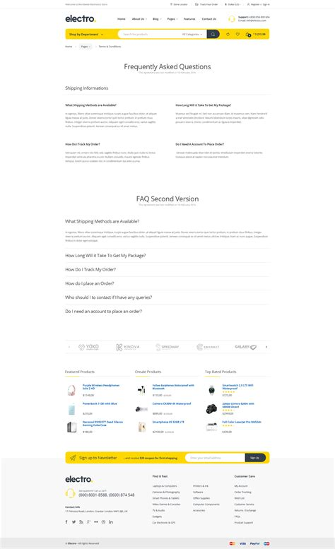 themeforest faq electro electronics ecommerce html template by