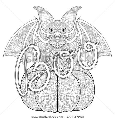 zentangle pumpkin printable zentangle stylized bat on pumpkin boo stock vector