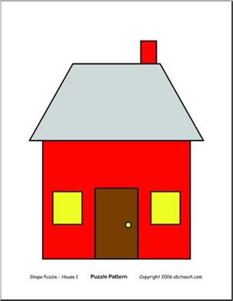 shape puzzle house b w easy cut out the shapes and house color easy shape puzzle abcteach
