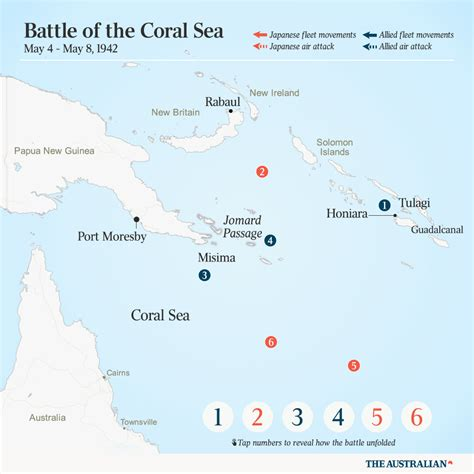 coral sea map battle of the coral sea helped turn pacific war s tide