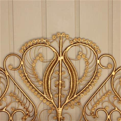 gold wicker headboard peacock style from retrospeclist on