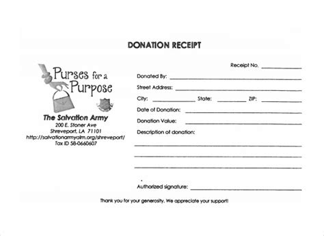 salvation army donation receipt template sle donation receipt template 17 free documents in