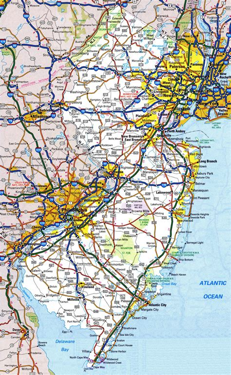printable road map of new jersey large detailed roads and highways map of new jersey state
