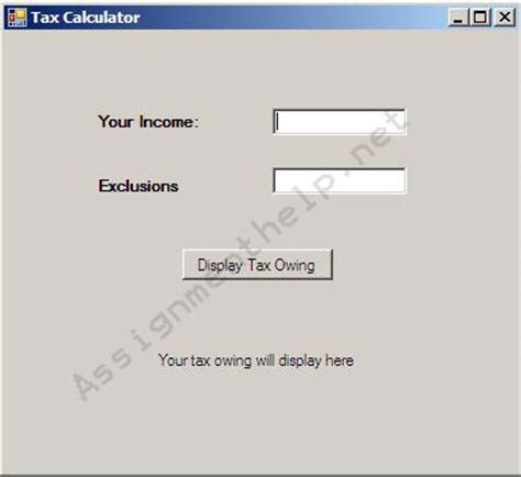 Basic Tax Calculation Vb Homework Help