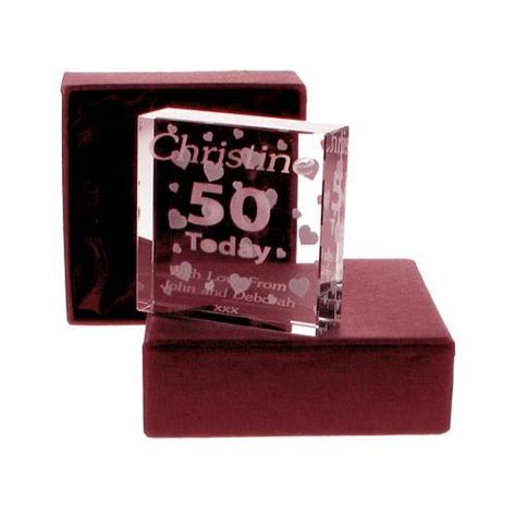 personalised 50th birthday gift glassware glass token