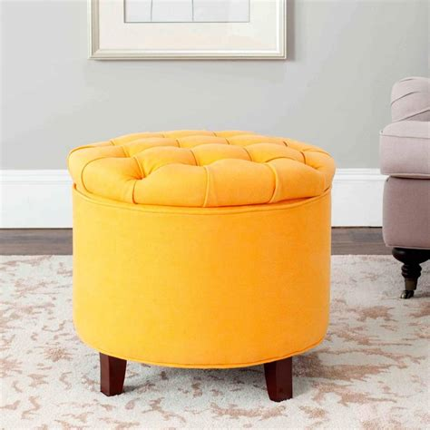 great modern ottoman furniture yellow leather tufted modern ottoman with brown laminated