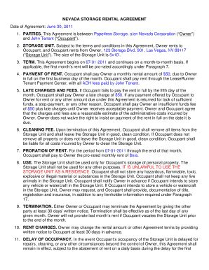 self storage rental agreement template storage unit lease agreement template fill
