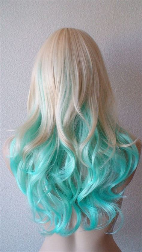 blonde ombres for medium lengths blonde teal ombre wig medium length curly hair long side
