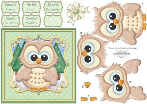 printable card toppers free ho ho hoot christmas brown owl card topper decoupage