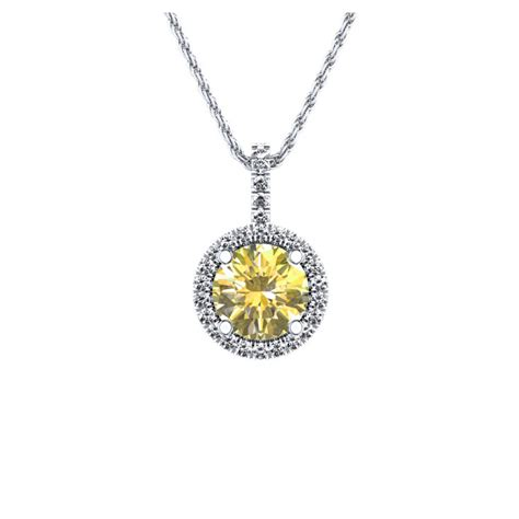 and yellow sapphire halo pendant in 14k white gold