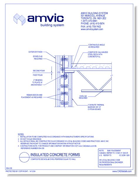 anchoring a roof deck to a parapet amvic building system concrete cad drawings