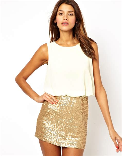 Tops Skrit lyst tfnc dress with blouson top and sequin skirt in metallic