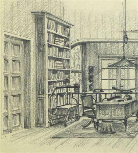 sketchbook library pencil drawing library interior circa 1950