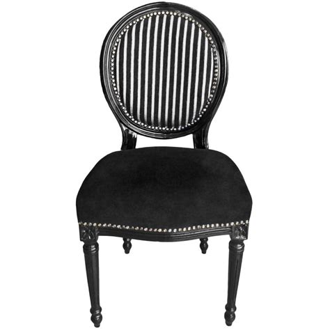 Chair louis xvi style black and white stripes with black sit black wood
