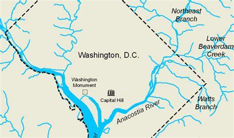 washington dc rivers map the anacostia partnering to restore an estuary