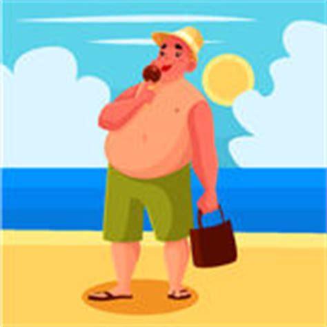 cartoon fat man  beach stock image image  waving