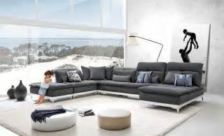 Gray Modern Sofa David Horizon Modern Grey Fabric Leather Sectional Sofa Modern Sofas Living Room