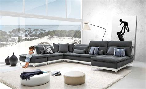 modern gray sectional david ferrari horizon modern grey fabric leather
