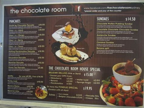 The Chocolate Room by Menu The Chocolate Room Posted On Window Outside