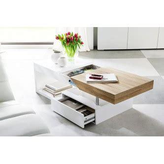 table basse design blanc laqu 233 et bois 120 cm