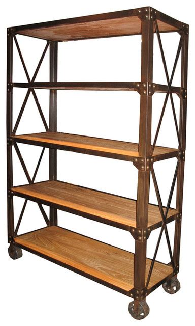 old elm shelf with wheels modern bookcases by noir