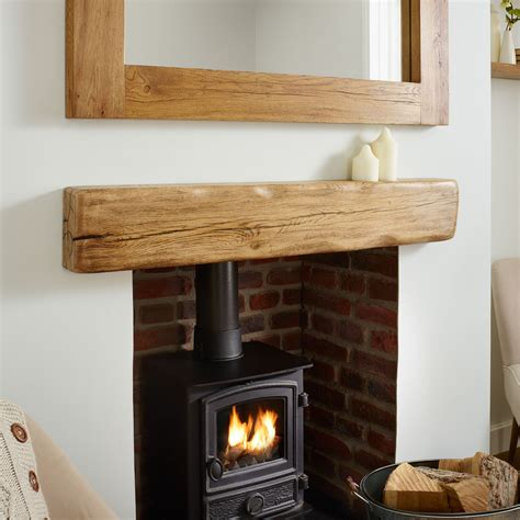Oak Beam Above Fireplace by Oak Mantel Shelf Aged Flamed Rustic Solid Beam